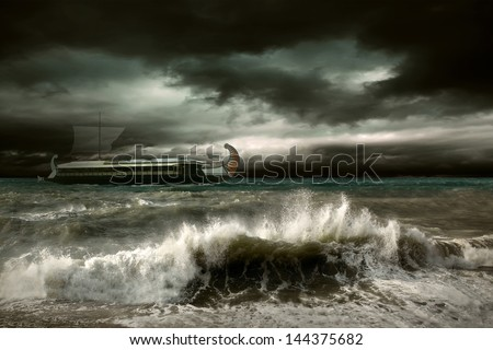 View of storm seascape with historical ship