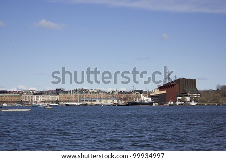 View of Strandvagen street and Vasa Museum from urban boat in Stockholm City, Sweden