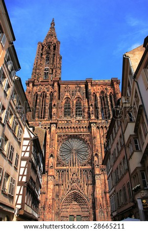 View of Strasbourg Cathedral from below - Visited by :Michelle Obama on 4th of April 2009 during the NATO summit - stock photo