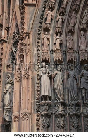 View of Strasbourg Cathedral from below - Visited by :Michelle Obama on 4th of April 2009 during the NATO summit