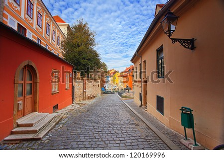 view of street in old Zagreb, Croatia