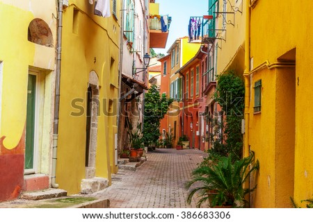 View of streets. Villefranche-sur-Mer, Nice, Cote d'Azur, French Riviera.