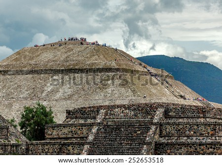 view of sun pyramids in...