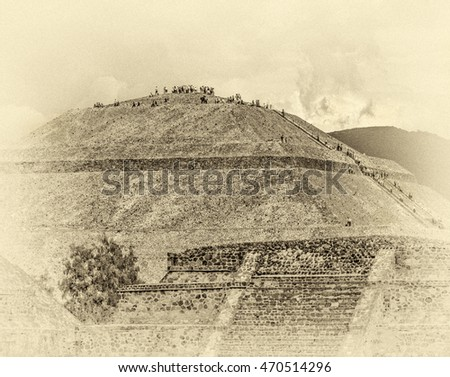 View of Sun Pyramids in Teotihuacan - Mexico, Latin America (stylized retro)
