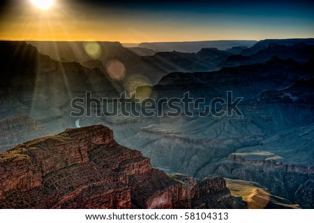 View of sunset from the South Rim in Grand Canyon, National Park. The Grand Canyon is a steep-sided gorge carved by the Colorado River in the United States in the state of Arizona.