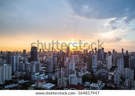 view of Sunset over cityscape #364857947