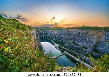 view of sunset over 'Velka Amerika' (Grand America) quarry. Czech Republic, Europe.  Stok fotoğraf ©