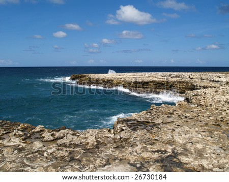 View of surrounding area around Devils Bridge at Indian Town Point National Park on Antigua Barbuda in the Caribbean Lesser Antilles West Indies.