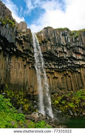 View of Svartifoss waterfall ,Iceland