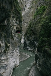 View of Swallow Grotto (Yanzikou) Trail in Taroko National Park, Taiwan.