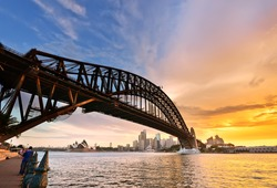View of Sydney Harbor at dusk