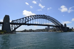 View of Sydney Harbor bridge on clear day