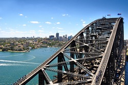 View of Sydney Harbour Bridge from the south-eastern pylon containing the tourist lookout towards North Sydney