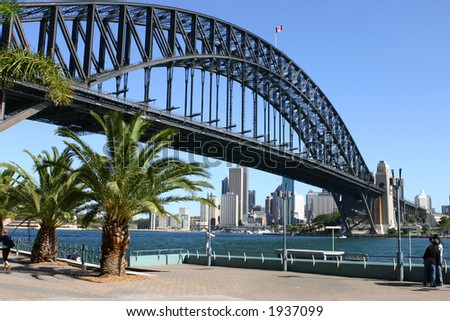 View of Sydney Harbour, Sydney Harbour Bridge and the city of Sydney from Milson's Point. - stock photo