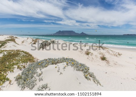 View of Table Mountain from Blouberg in Cape Town with wind surfers #1102151894