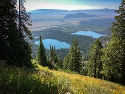 View of Taggart Lake and Bradley Lake From Teton Mountain at Grand Teton National Park