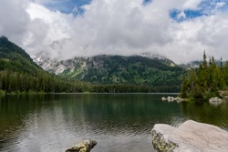 View of Taggart Lake from Shoreline in Tetons Wilderness