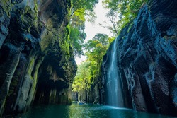 View of Takachiho Gorge, a beautiful autumn canyon