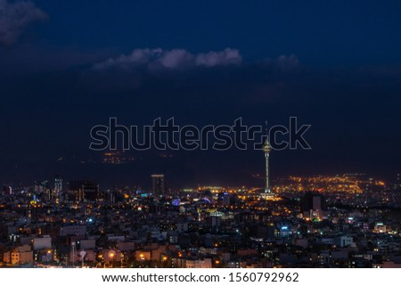 View of Tehran and Twilight sky