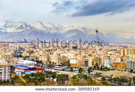 View of Tehran from the Azadi Tower - Iran Stock fotó ©
