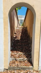 View of the abandoned staircase through the arch. Ladder in autumn leaves.