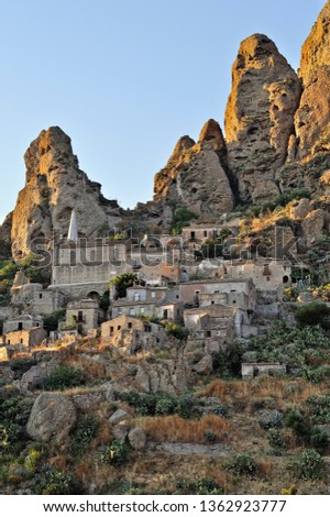 View of the abandoned village of Pentedattilo, District of Reggio Calabria, Aspromonte, Calabria, Italy, Europe #1362923777