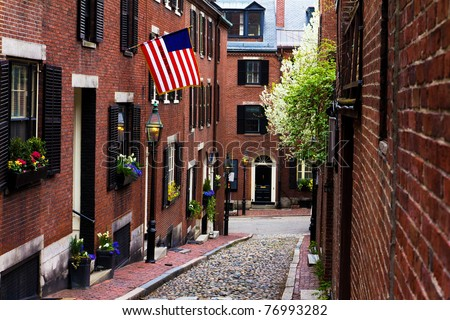 View of the Acorn Street in Boston, Massachusetts - USA. This is a Landmark and Sightseeing of Boston.