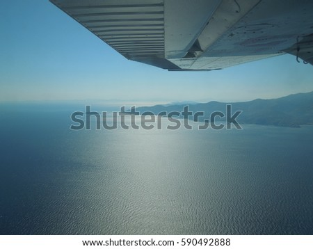 View of the Aegean Sea Greece from above