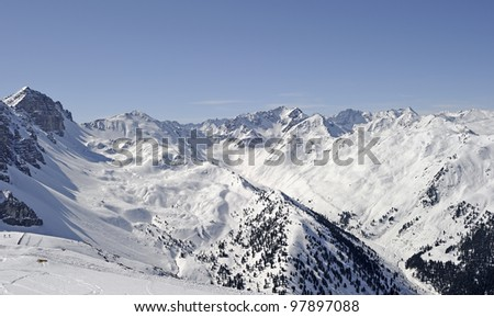 "View of the Alps at ""Innsbruck"" in Austria in the winter"