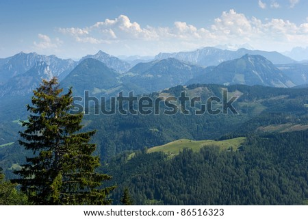 View of the alps near the Wolfgangsee in Austria