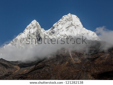 View of the Ama Dablam (6814 m) from trek near village Shamore - Everest region, Nepal, Himalayas