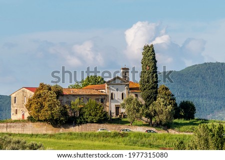 View of the ancient Church of San Zio, Cerreto Guidi, Florence, Italy, on a hill in the Tuscan countryside Zdjęcia stock ©
