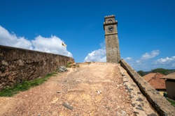 View of the ancient clock tower of Galle Fort in Sri Lanka