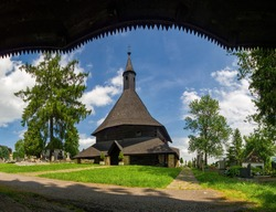View of the ancient historic church, wooden gothic church in Trvdosin, Slovakia. Wooden churches of the Carpathian arch UNESCO heritage site, Slovakia.
