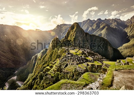 View of the ancient Inca City of Machu Picchu. The 15-th century Inca site.\'Lost city of the Incas\'. Ruins of the Machu Picchu sanctuary. UNESCO World Heritage site.