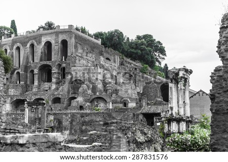 View of the ancient rome ruins near colosseum in black and white, Rome, Italy