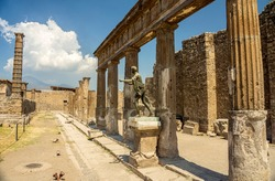 View of the ancient ruins of the City of Pompei, Naples, Italy, Europe