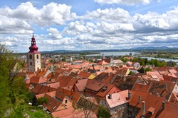 View of the ancient town of Ptuj in Slovenia from the above castle - oldest recorded city in Slovenia