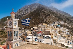 View of the ancient village of Olympus in the northern part of the Greek island of Karpathos in the Dodecanese archipelago