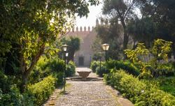 View of the Andalusian Gardens in The Kasbah of the Udayas ancient fortress in Rabat in Morocco is located at the mouth of the Bou Regreg river. Rabat is the capital of Morocco. Jardin Andalous.