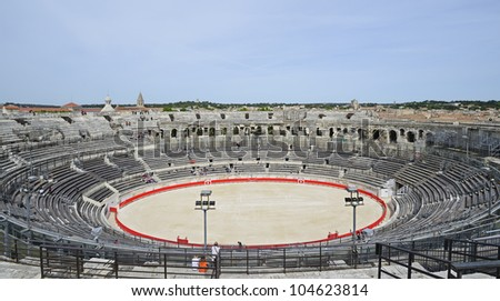 """View of the antique theatre and arena of """"Nimes"""" in South France"""