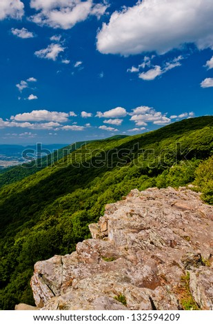 View of the Appalachian Mountains and Shenandoah Valley from Crescent Rock, on Skyline Drive in Shenandoah National Park, Virginia.