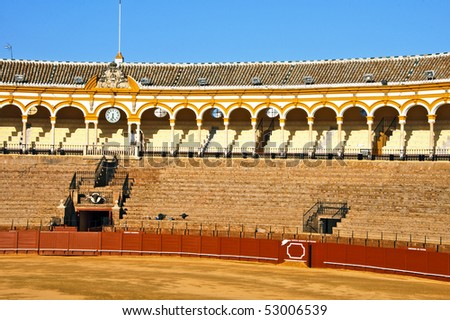 View of the arena of Real Maestranza de Caballeria de Sevilla, in Seville, Spain