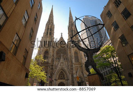 View of the Atlas statue and Saint Patrick Cathedral in Fifth Avenue, NYC