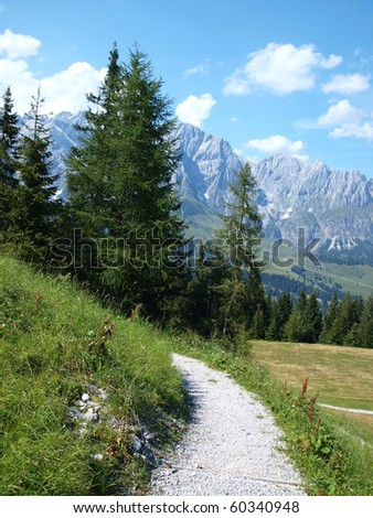 View of the Austrian Alps with the picturesque scenic glades