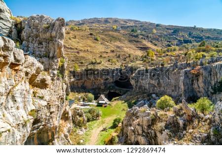 View of the Baatara gorge sinkhole in Tannourine, Lebanon #1292869474