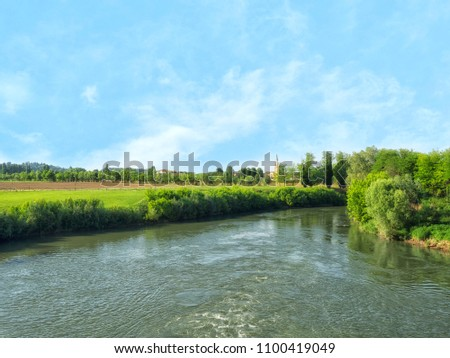 View of the Bacchiglione river in Santa Maria di Veggiano, a river in the Veneto region, which flows through the provinces of Vicenza and Padua. #1100419049