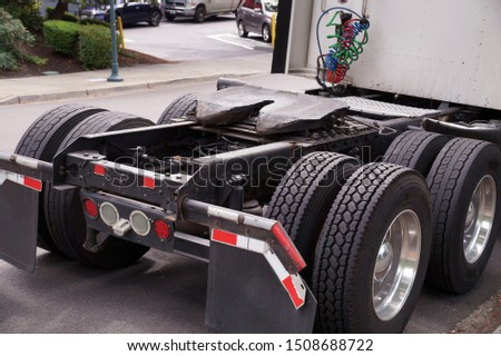 View of the back part of the 18 wheeled truck. Visible fifth wheel couplings are fitted to a tractor unit to connect it to the trailer. #1508688722