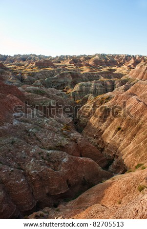 View of the Badlands National Park, South Dakota