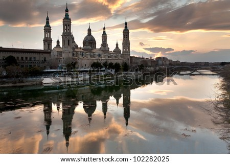 View of the Basilica-Cathedral of Our Lady of the Pillar (Catedral-Basi­lica de Nuestra Señora del Pilar), Zaragoza (Spain)
